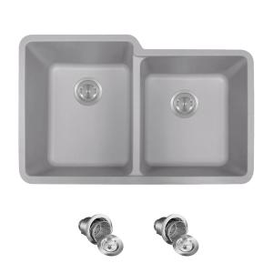 All In One Undermount Granite Composite 32 5 0 Hole Double Bowl