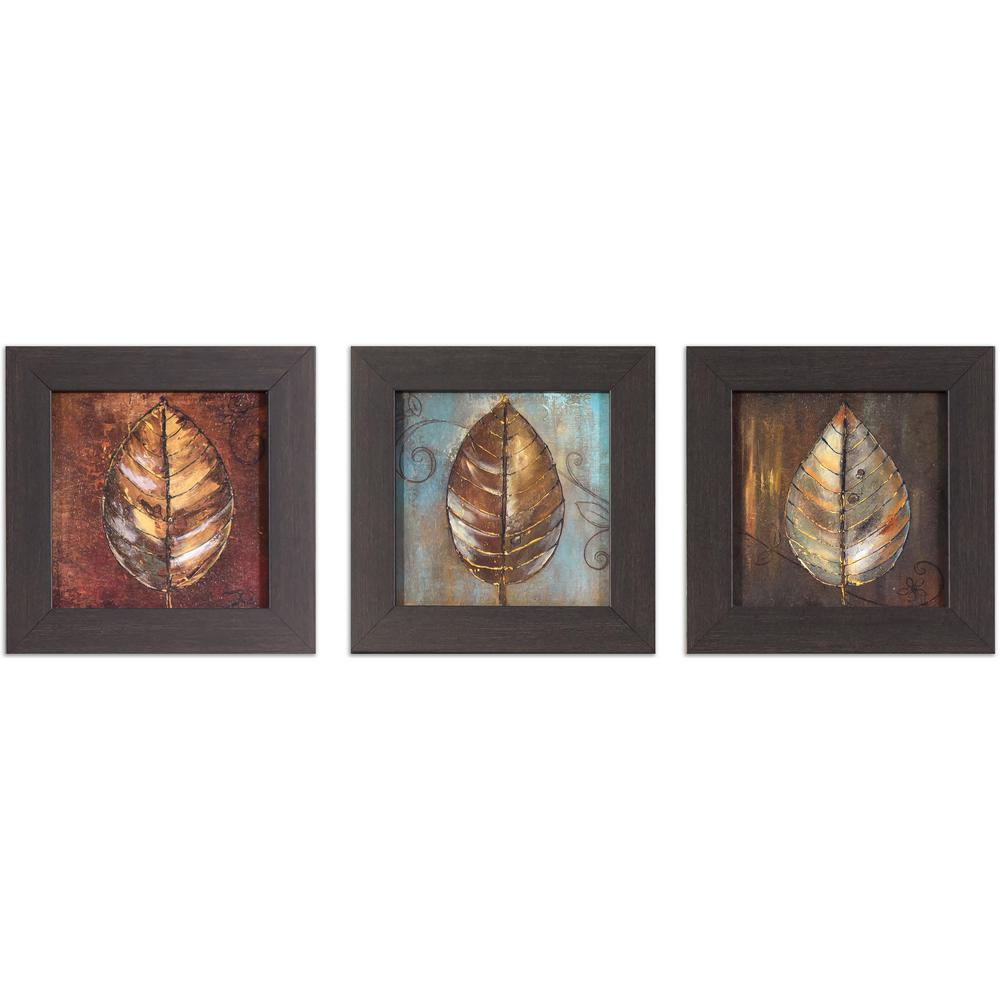 Decor therapy 8 in x 8 in painted leaves printed framed wall art painted leaves printed framed wall art jeuxipadfo Gallery
