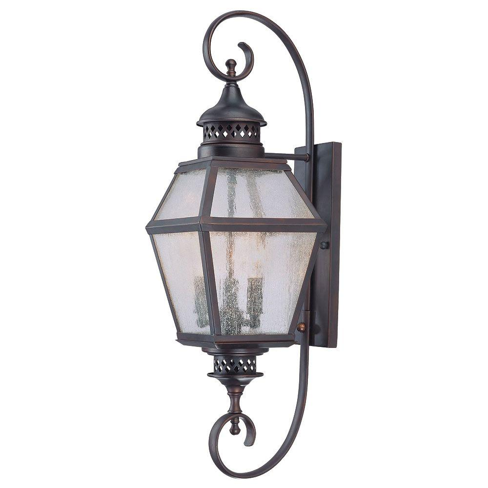 3-Light Outdoor Wall Mount Lantern English Bronze Finish Pale Cream Scavo