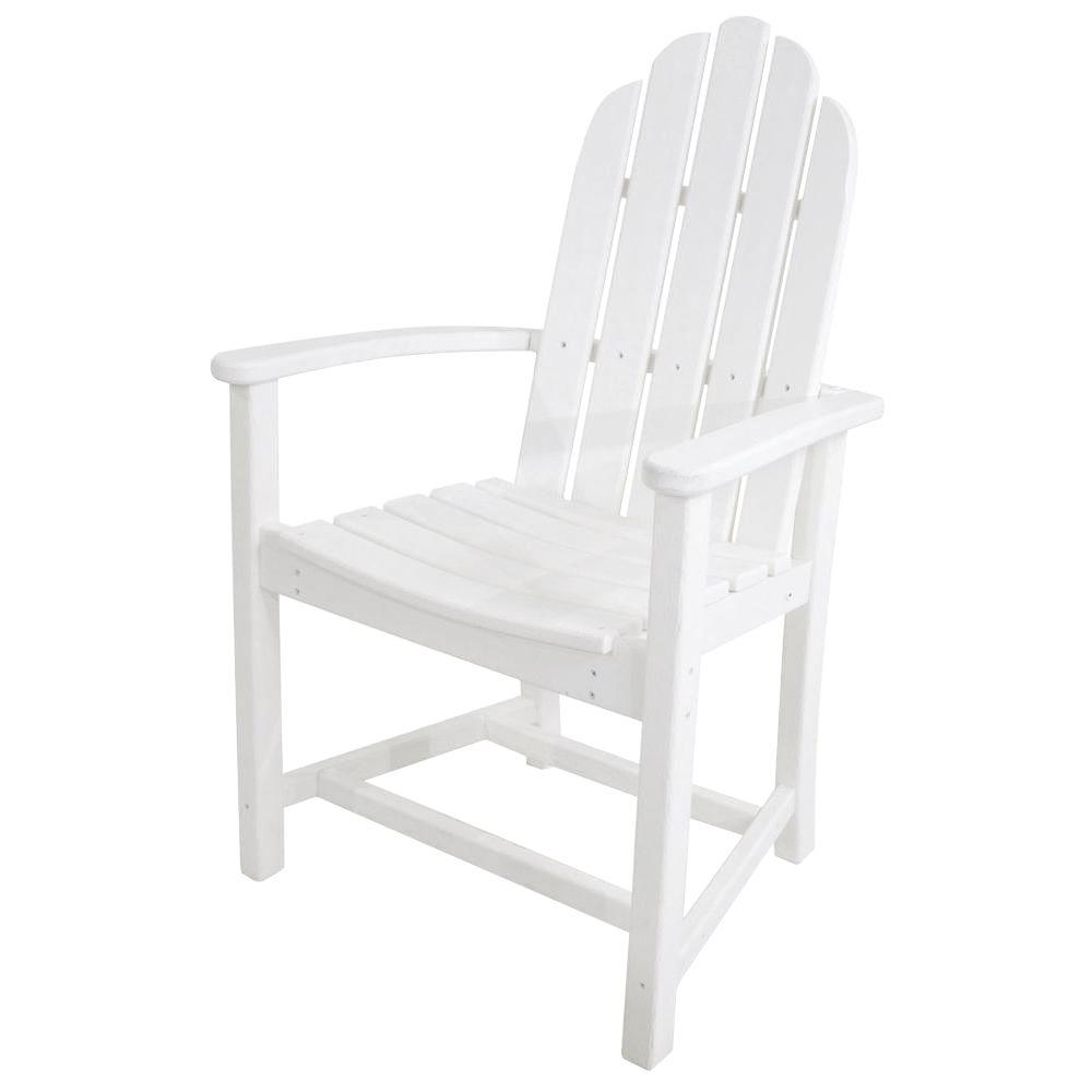 polywood classic white adirondack all weather plastic outdoor dining chair add200wh the home depot. Black Bedroom Furniture Sets. Home Design Ideas