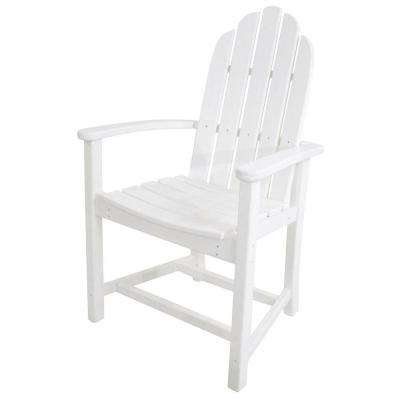 Classic White Adirondack All-Weather Plastic Outdoor Dining Chair