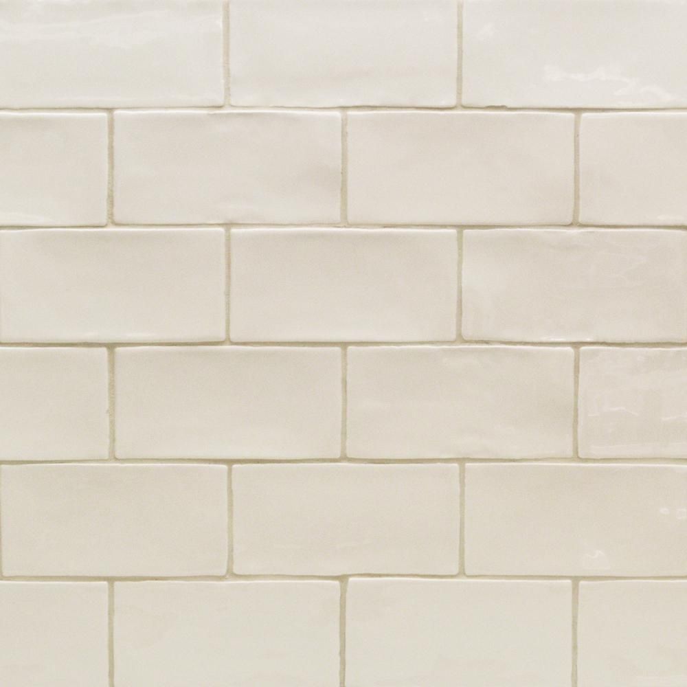 Sample Cream Crackle Glass Mosaic Tile Kitchen Backsplash: Splashback Tile Catalina Vanilla 3 In. X 6 In. X 8 Mm