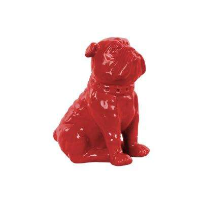 8 in. H Dog Decorative Figurine in Red Gloss Finish