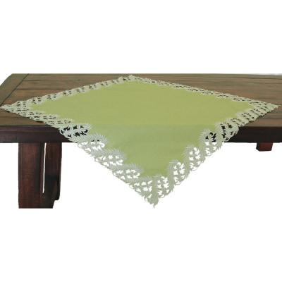34 in. x 34 in. Green Laurel Embroidered Cutwork Table Topper