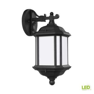 Kent 1-Light Black Outdoor Wall Mount Lantern with LED Bulb