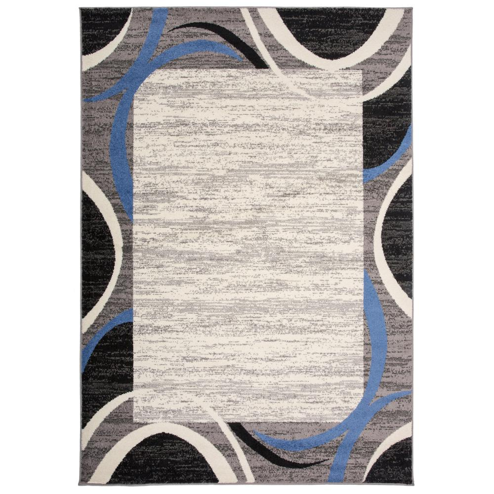World Rug Gallery Modern Geometric Border Area Rug 5 X 7