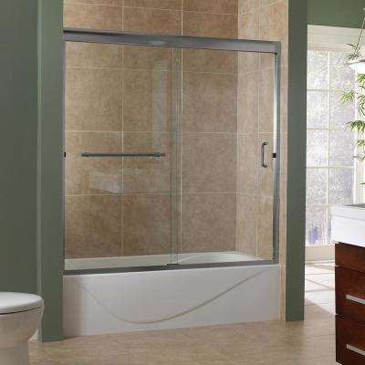 Marina 60 in. x 60 in. Semi-Framed Sliding Tub Door in Brushed Nickel with 3/8 in. Clear Glass