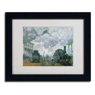 11 in. x 14 in. Gare Saint-Lazare Arrival of a Train Matted Black Framed Wall Art