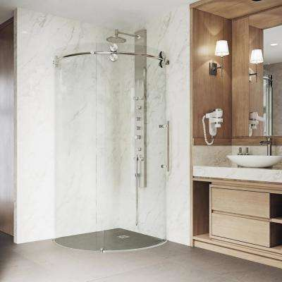 Sanibel 38 in. x 74.625 in. Frameless Corner Bypass Round Shower Enclosure in Stainless Steel with Right-Sided Opening
