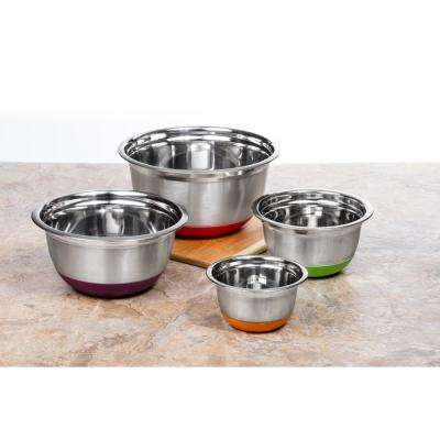 4-Piece Stainless Steel Mixing Bowls Set with Multicolored Silicone Base