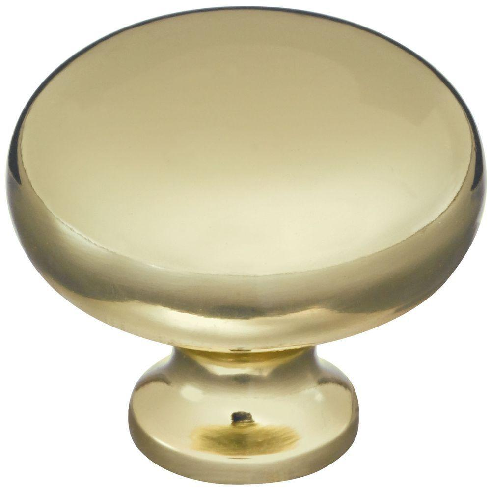 Stanley-National Hardware 1-1/4 in. Bright Brass Round Cabinet Knob (2-Pack)
