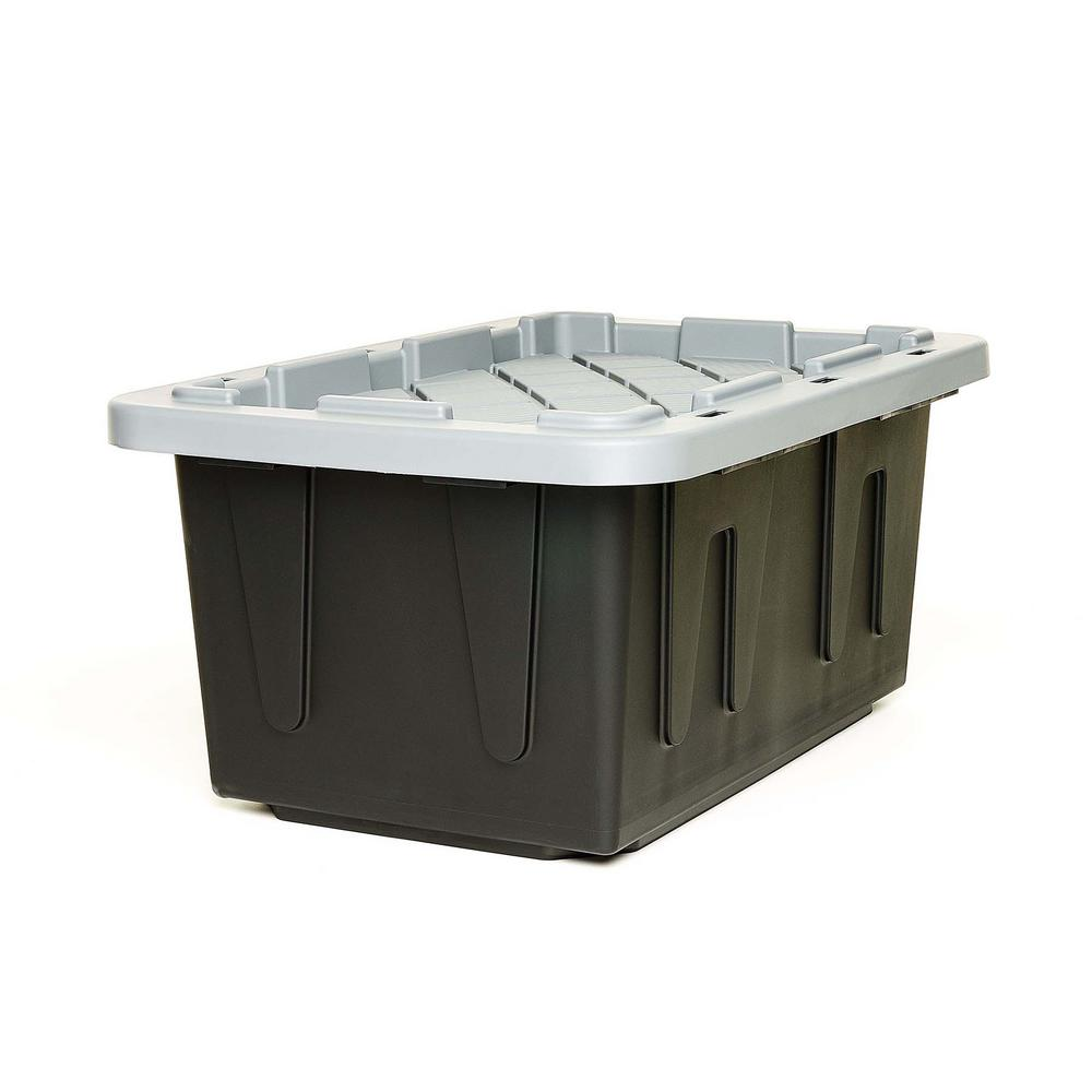 HOMZ EcoStorage 15 Gal. Tough Container, Black Base with Grey Lid (Set of 4)