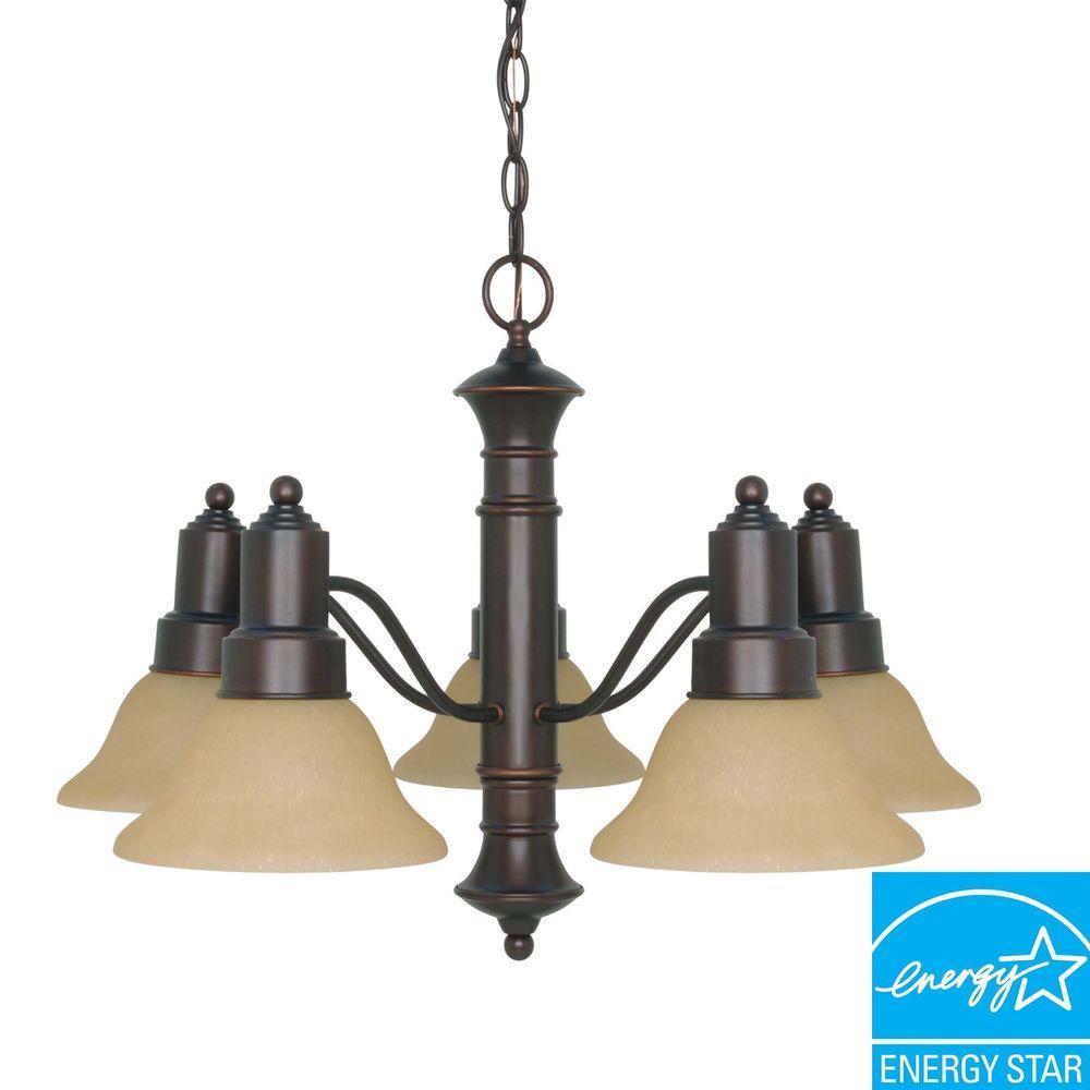 5-Light Mahogany Bronze Hanging Chandelier