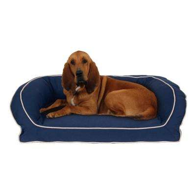 Large/X-Large Blue Classic Canvas Bolster Bed with Orthopedic Foam