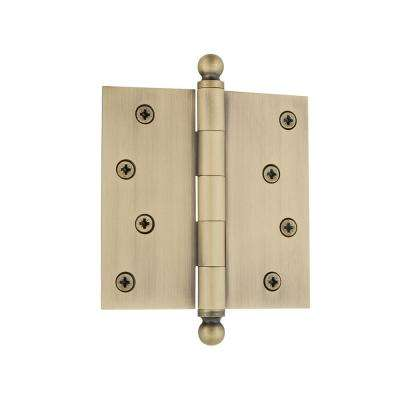 4 in. Ball Tip Residential Hinge with Square Corners in Vintage Brass