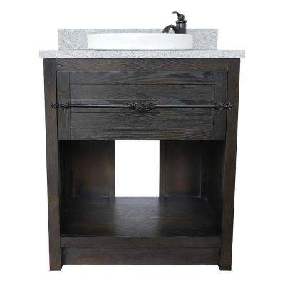 Plantation II 31 in. W x 22 in. D Bath Vanity in Brown with Granite Vanity Top in Gray with White Round Basin