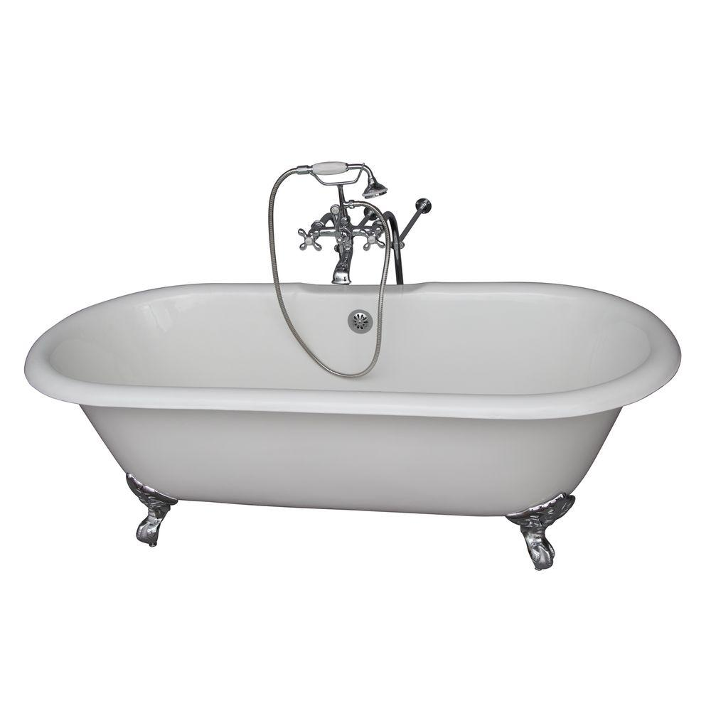 5.6 ft. Cast Iron Imperial Feet Double Roll Top Tub in