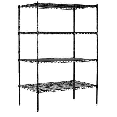 48 in. W x 74 in. H x 24 in. D Industrial Grade Welded Wire Stationary Wire Shelving in Black