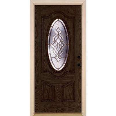 37.5 in. x 81.625 in. Lakewood Brass 3/4 Oval Lite Stained Walnut Oak Left-Hand Inswing Fiberglass Prehung Front Door