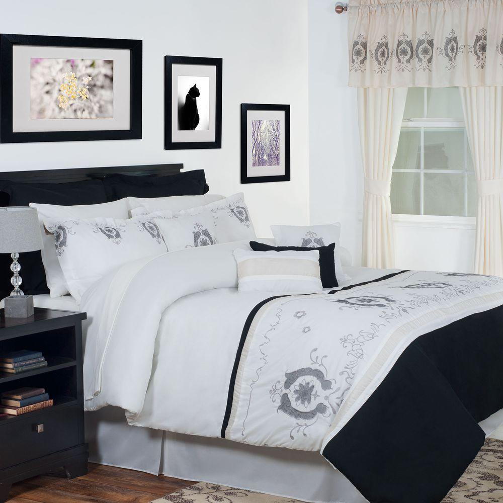 Lavish Home Eloise White 24 Piece Queen Comforter Set 66 28 Q The