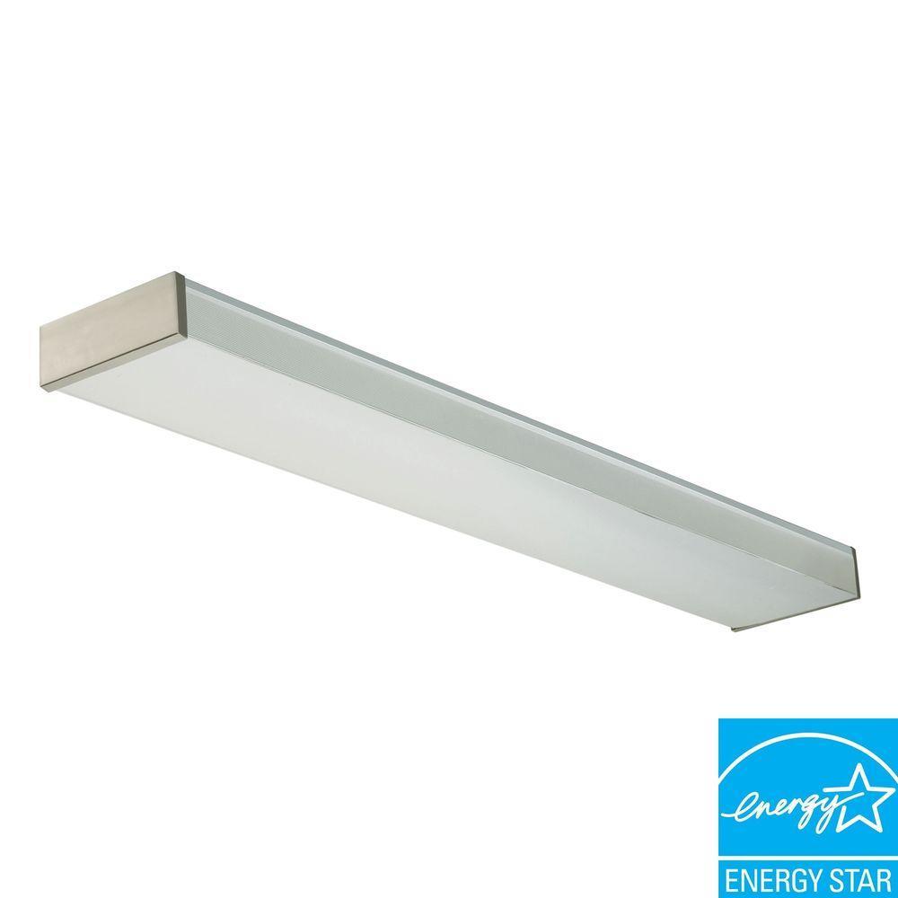 Lithonia Lighting 4 Ft 2 Light Fluorescent Brushed Nickel Decorative Wrap Fixture Strip