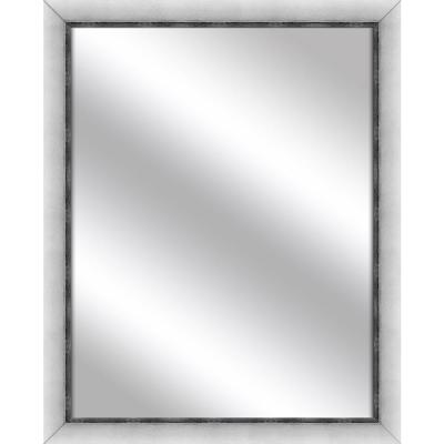 Medium Rectangle Stainless Silver Art Deco Mirror (31 in. H x 25 in. W)