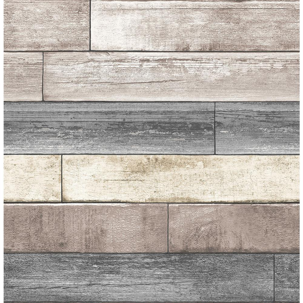 NuWallpaper 30.75 sq. ft. Reclaimed Wood Plank Natural Peel and Stick Wallpaper, Neutral was $38.19 now $26.44 (31.0% off)
