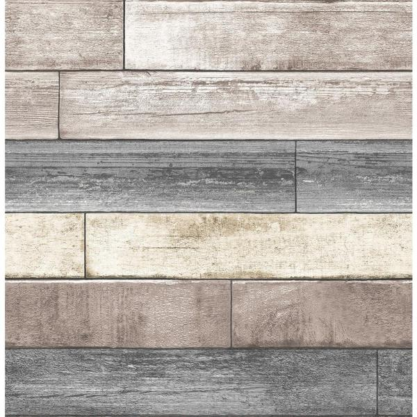 30.75 sq. ft. Reclaimed Wood Plank Natural Peel and Stick Wallpaper