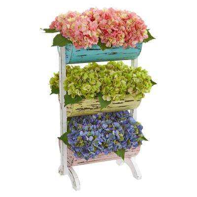 27 in. Indoor Hydrangea Garden Artificial Arrangement in Farmhouse Stand