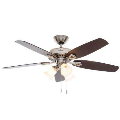 Builder Plus 52 in. Indoor 3-Light Brushed Nickel Ceiling Fan Bundled with Light and Handheld Remote Control