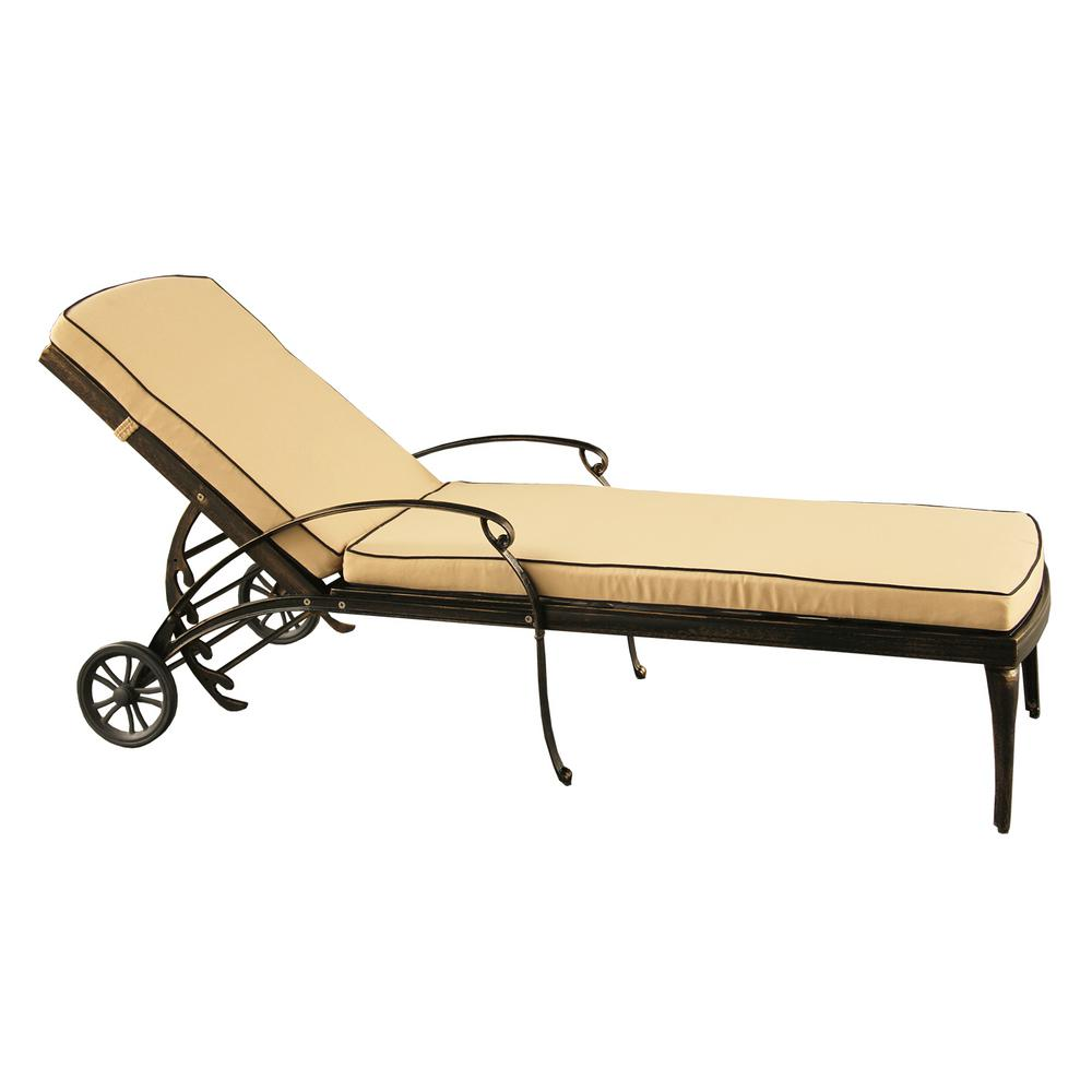 Contemporary Modern Mesh Lattice Aluminum Outdoor Patio Garden Pool Chaise  Lounge In Bronze With Wheels And