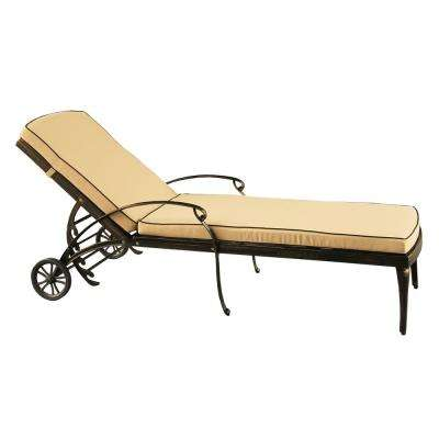 Contemporary Modern Mesh Lattice Aluminum Outdoor Patio Garden Pool Chaise Lounge in Bronze with Wheels and Cushion