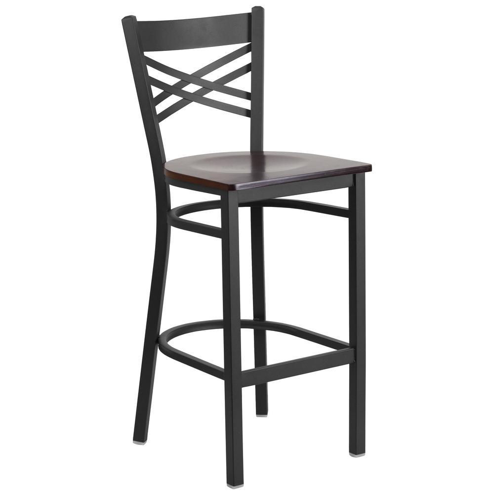 Flash Furniture 29 in. Black and Walnut Bar Stool XU6FOBXBARWAW