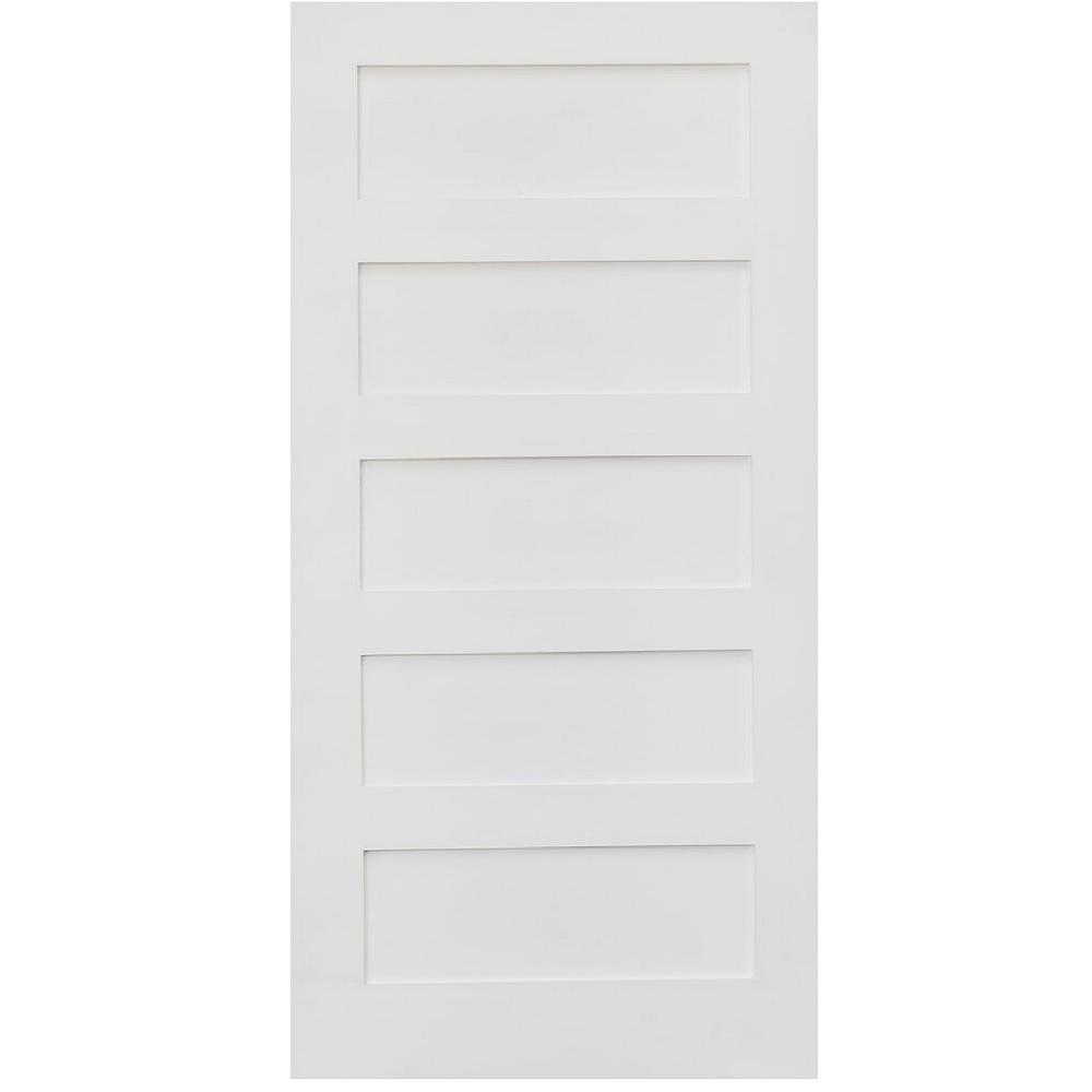 Stile Doors 30 in. x 80 in. Shaker Primed 5-Panel Solid Core MDF Interior Door Slab