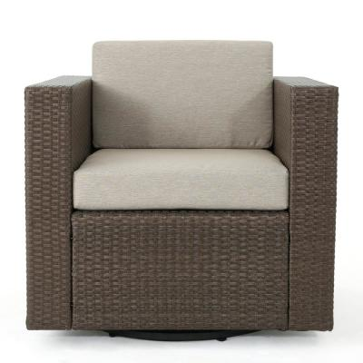 Puerta Light Brown Swivel Wicker Outdoor Lounge Chair with Ceramic Grey Cushion