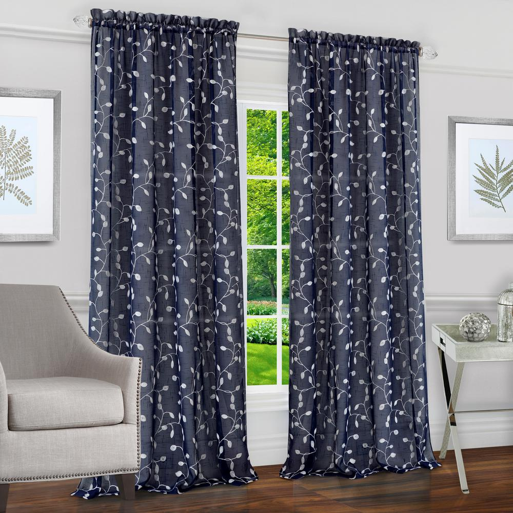 Chloe Navy Polyester Rod Pocket Curtain - 50 in. W x