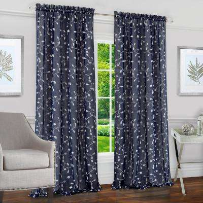 Chloe Navy Polyester Rod Pocket Curtain - 50 in. W x 84 in. L