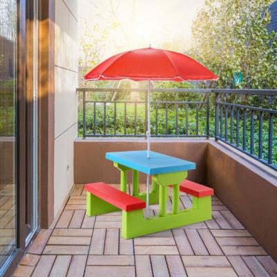 Kids Folding Picnic Set PP Outdoor Dining Table Set with Folding Table, Bench and Umbrella Set