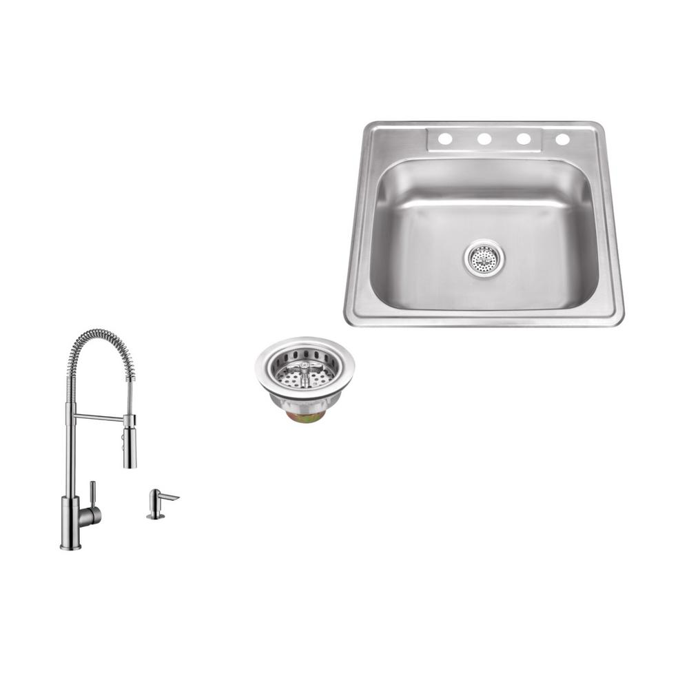 Ipt Sink Company Drop In 25 In 4 Hole Stainless Steel Kitchen Sink In Brushed Stainless With Pull Out Kitchen Faucet And Soap Dispenser