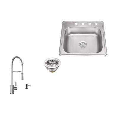 Drop-in 25 in. 4-Hole Stainless Steel Kitchen Sink in Brushed Stainless with Pull Out Kitchen Faucet and Soap Dispenser