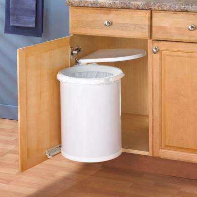 20 in H. x 14 in. W x 13 in. D Plastic In-Cabinet Pivot-Out Trash Bin in White
