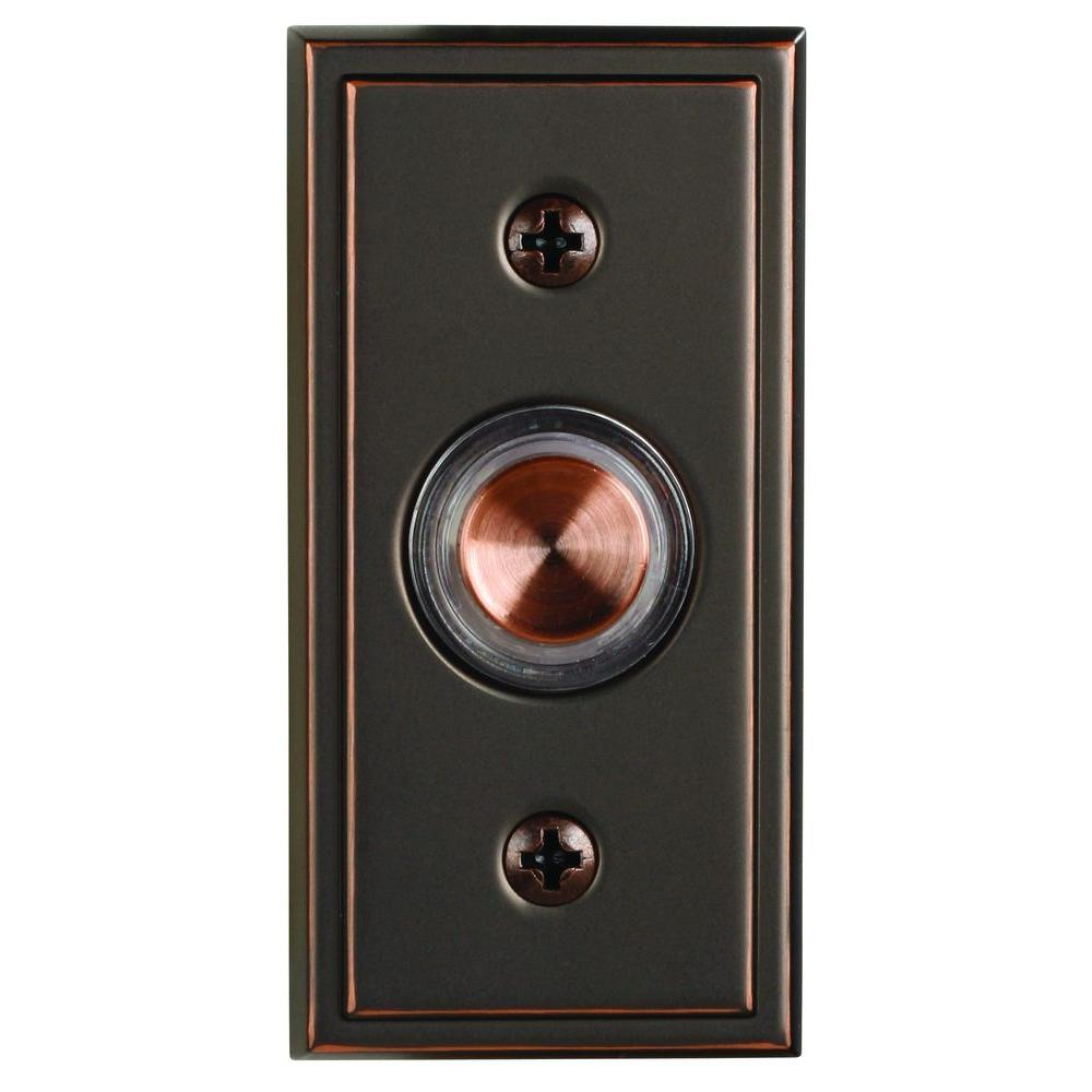 Wired Halo-Lighted Push Button Antique Copper Finish