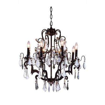 Charlotte 8-Light Antique Bronze Chandelier with Clear Crystal