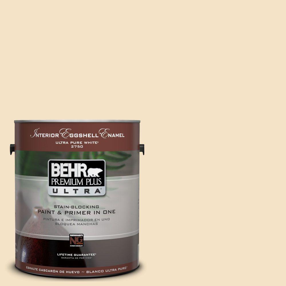 BEHR Premium Plus Ultra 1-Gal. No.UL180-16 Cream Puff Interior Eggshell Enamel Paint