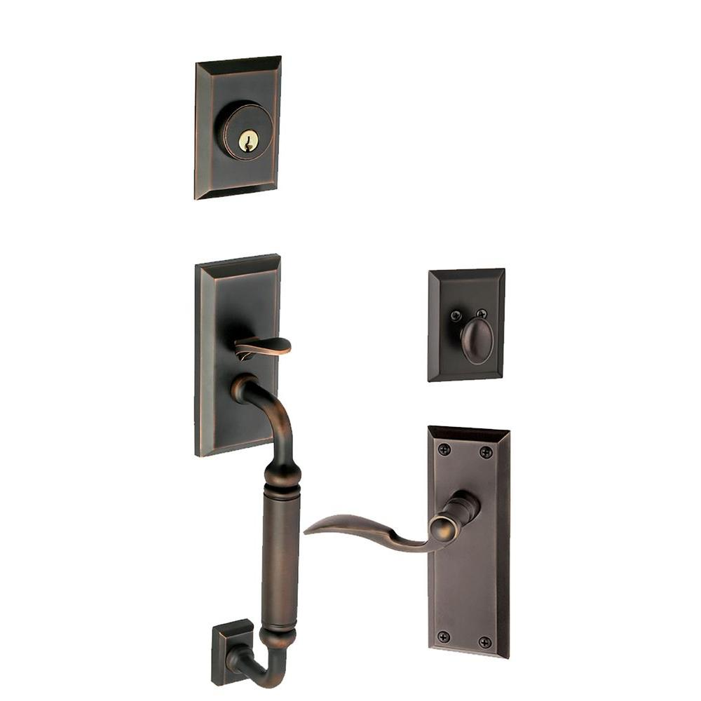 Grandeur Fifth Avenue Single Cylinder Timeless Bronze C-Grip Handleset with Right Handed Bellagio Lever