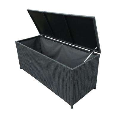 113 Gal. Black Indoor and Outdoor Balcony Patio Deck Porch Pool Wicker Storage Box Trunk Bin with Metal Frame