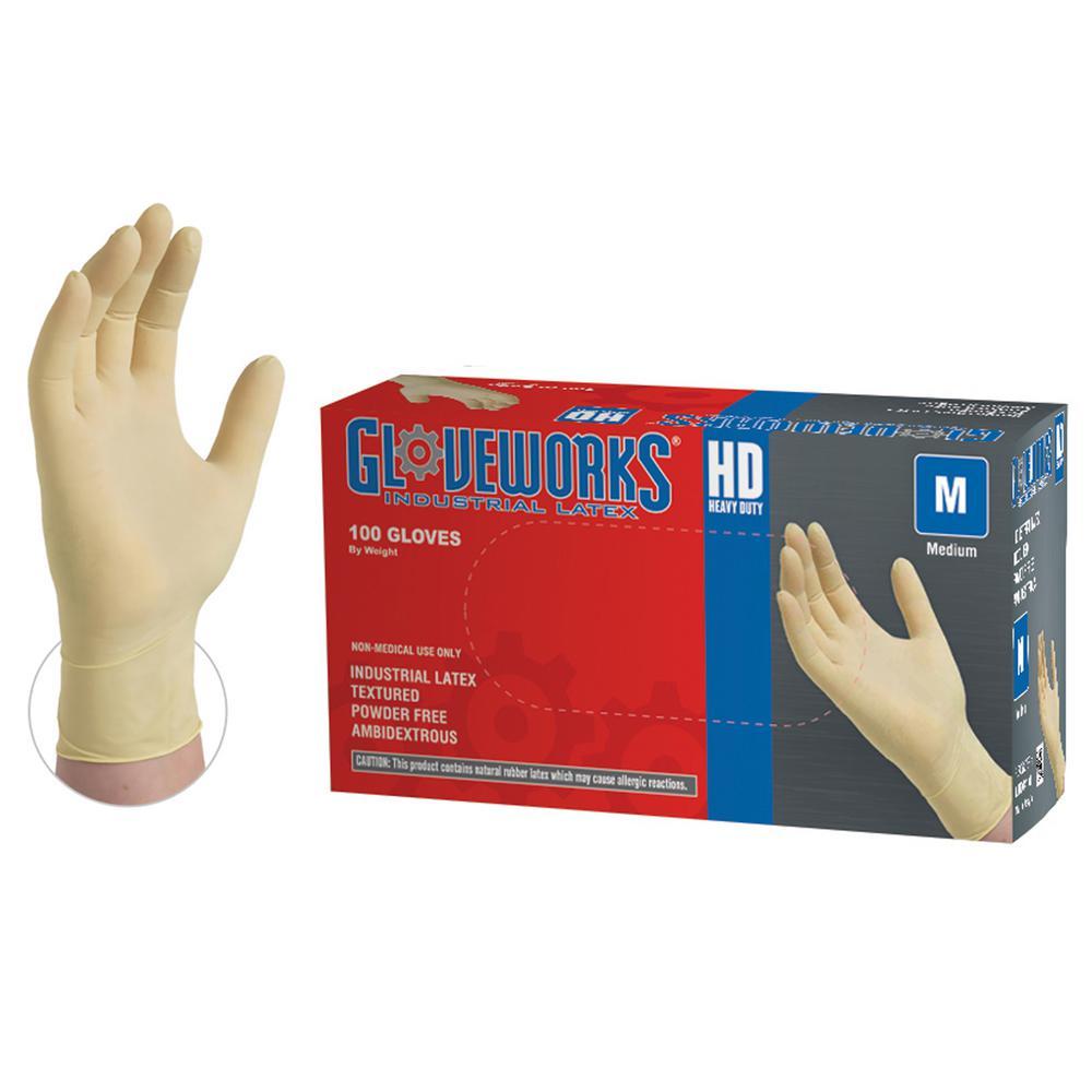 Heavy Duty Ivory Latex Exam Powder Free Disposable Gloves (Box of 100)