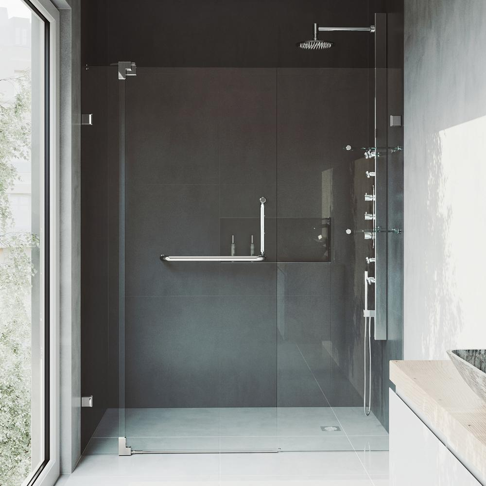 Adjule Frameless Pivot Shower Door In Brushed