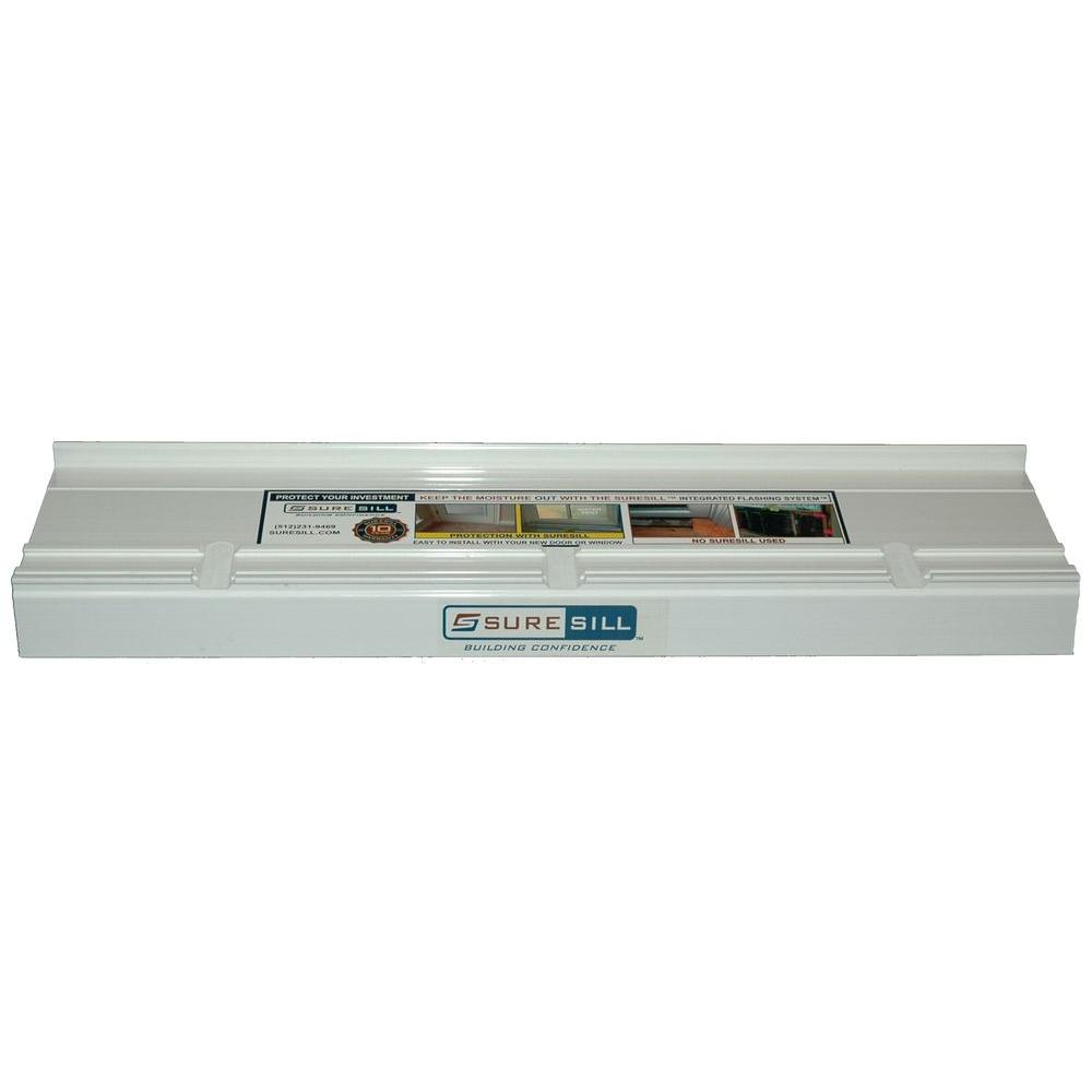 SureSill 6-9/16 in. x 80 in. White PVC Sloped Sill Pans for Door and Window Installation and Flashing (10-Pack)