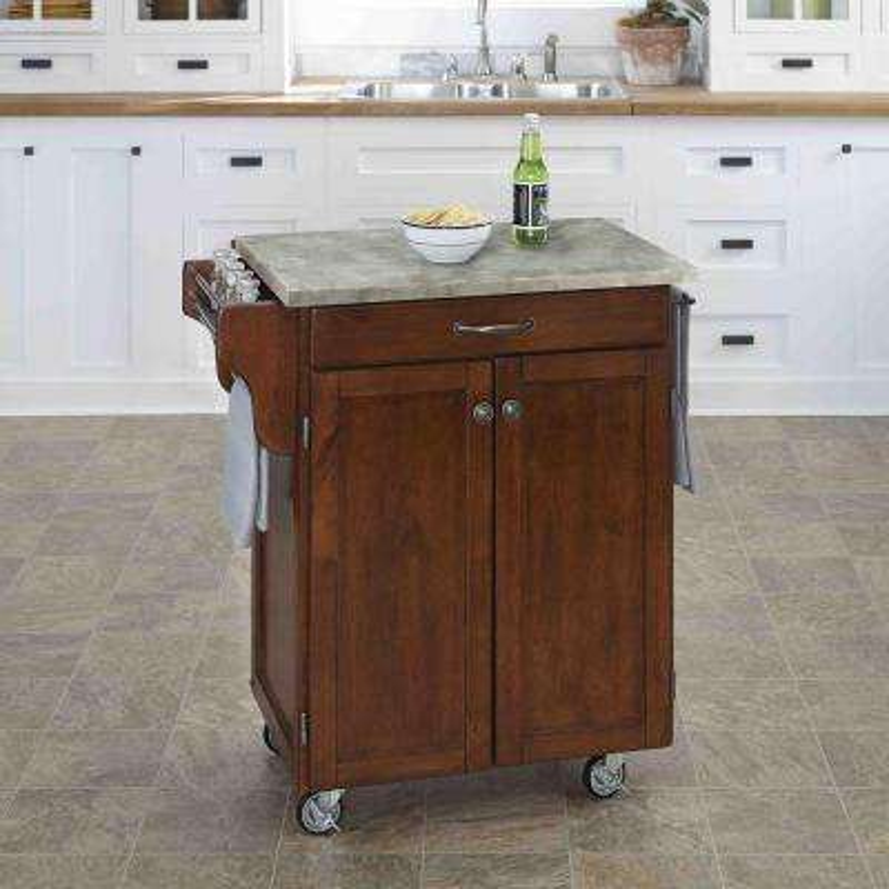 Cuisine Cart Cherry Kitchen Cart With Concrete Top